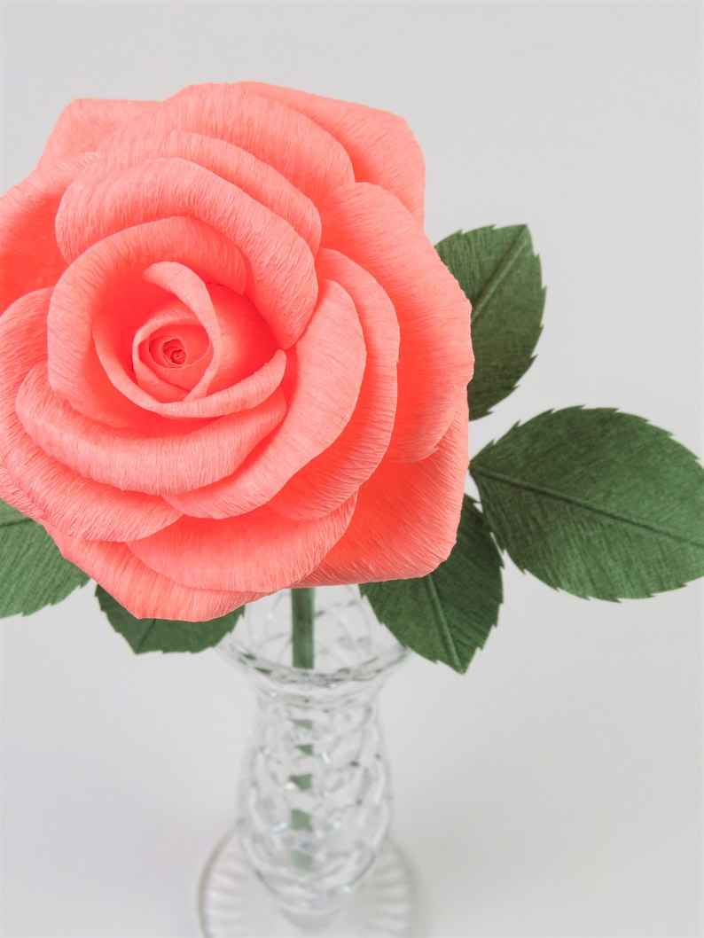 Coral Anniversary Gift for Her  Coral Rose for 35th Anniversary Gift  35 Years Anniversary Gift for Wife Coral Paper Flower
