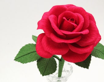 Paper Anniversary Gift for Her / Single Red Rose First Anniversary Gift for Wife / Red Paper Rose 1st Anniversary Gift for Him