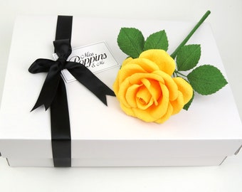 Paper Anniversary Gift for Wife / Yellow Paper Rose First Anniversary Gift for Her