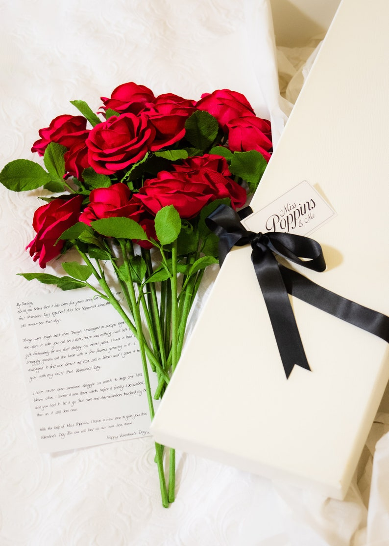 12 Red Roses Valentines Gift for Her / Ruby Red Bouquet of image 0