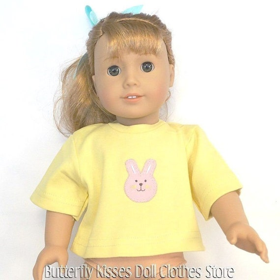 """Pink Easter Bunny T-Shirt 18/""""   Doll Clothes Fits American Girl"""