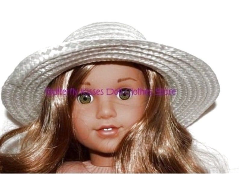 dd5e3303d4bb5 18 in Doll Clothes Fits American Girl White Straw Hat