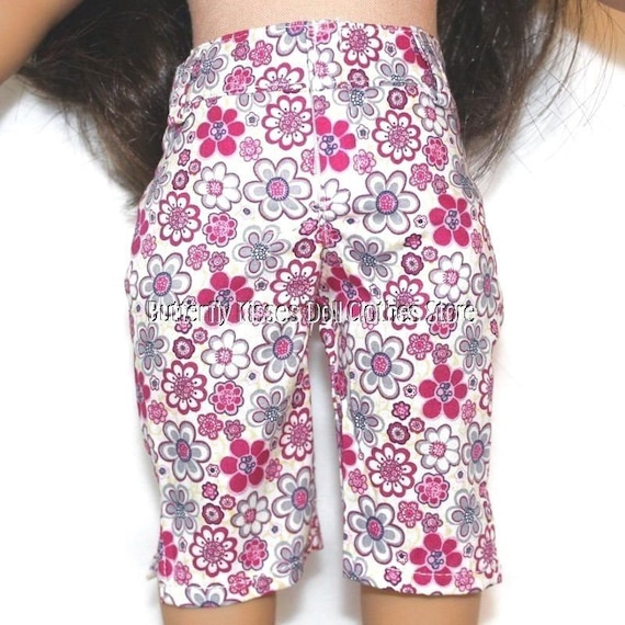 "Floral Cotton Capris with Pockets fits American Girl Dolls 18/"" Dolls"