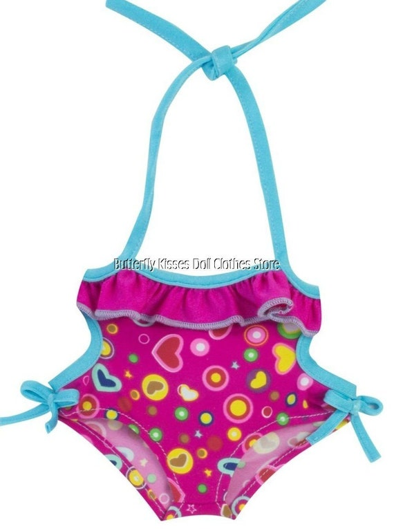 NEW American Girl Bitty Baby Twins Doll Tankini Swimsuit swim suit Flower Hearts
