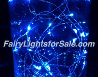 2m/6.6ft 1 set Blue 20 LED fairy light string strand cr 2032 battery for DIY, centerpiece, vase, wedding, costume, rave, EDM, event, micro