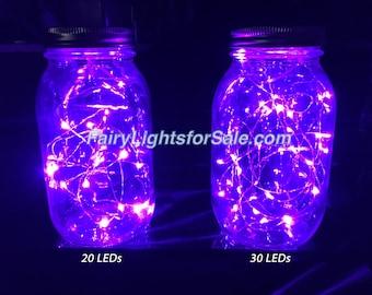 3m/9.8ft 1 set Purple 30 LED fairy light string strand cr2032 button battery for DIY, centerpiece, vase, wedding, costume, rave, EDM, event