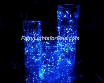 3m/9.8ft 5+ sets Blue 30 LED fairy light string strand button battery for DIY, centerpiece, wedding, costume, rave, EDM, event, decoration