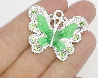 2 Large Green Enamel Butterfly Charms - Crystal Rhinestone Butterflies - Pendants - #E0039