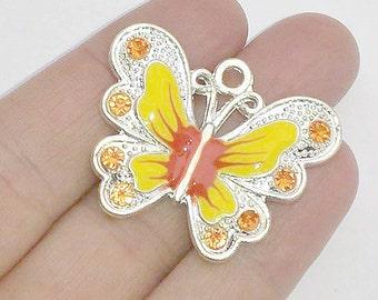 2 Large Yellow Enamel Butterfly Charms - Crystal Rhinestone Butterflies - Pendants - #E0036