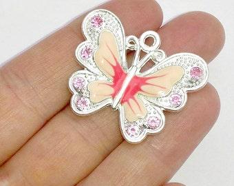 2 Large Pink Enamel Butterfly Charms - Crystal Rhinestone Butterflies - Pendants - #E0037