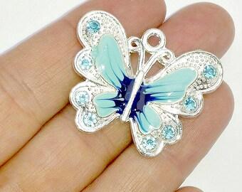 2 Blue Enamel Butterfly Charms - Crystal Rhinestone Butterflies - Pendants - #E0040