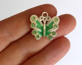 5 Green Enamel Butterfly Charms - Crystal Rhinestone Butterflies - Pendants - #E0021