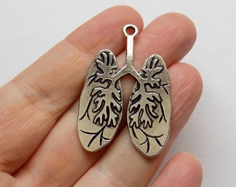 2 Antique Silver Lung Pendant Charms - #S0081