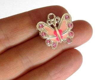 5  Pink Enamel Butterfly Charms - Crystal Rhinestone Butterflies - Pendants - #E0018