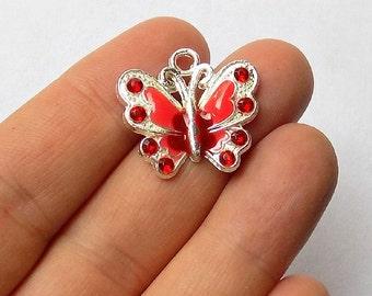 5 Red Enamel Butterfly Charms - Crystal Rhinestone Butterflies - Pendants - #E0022