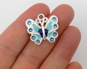 5  Blue Enamel Butterfly Charms - Crystal Rhinestone Butterflies - Pendants - #E0020