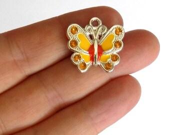 5 Yellow Enamel Butterfly Charms - Crystal Rhinestone Butterflies - Pendants #E0009