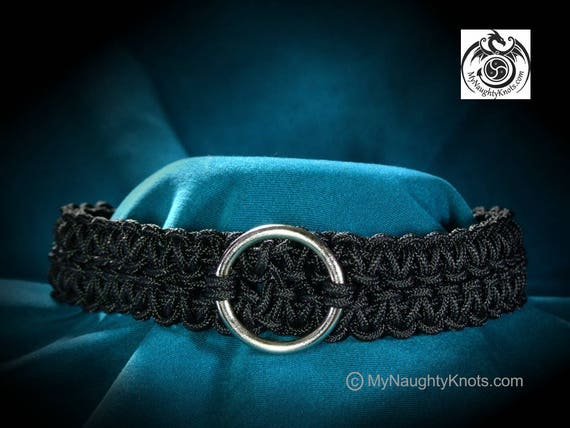 "14"" Black Knotted BDSM Slave Collar"