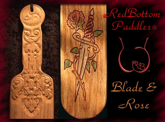 Spanking Paddle with Blade & Rose art engraved, makes an elegant BDSM gift.
