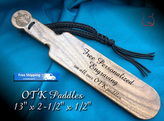 Exquisite Walnut OTK Spanking Paddle with engraved Horse Head makes great gift for Pony Play - Free Personalization