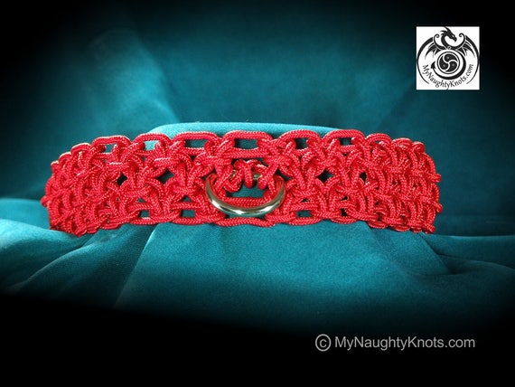 "16"" Red BDSM Knotted Slave or Submissive Collar"