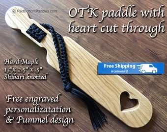 Hard Maple OTK Spanking Paddle with Free engraved Personalization & pummel design makes great BDSM gift