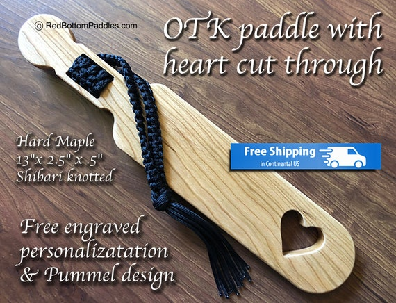 Hard Maple OTK Spanking Paddle with Free engraved Personalization & pummle design makes great BDSM gift