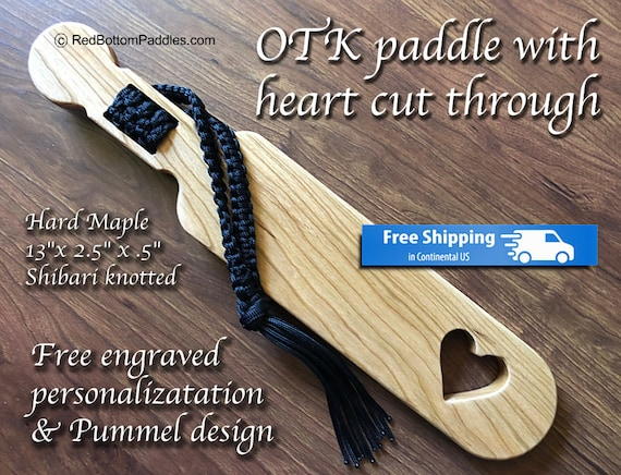 Hard Maple OTK Spanking Paddle with Free engraved Personalization & pummel design makes great BDSM gift