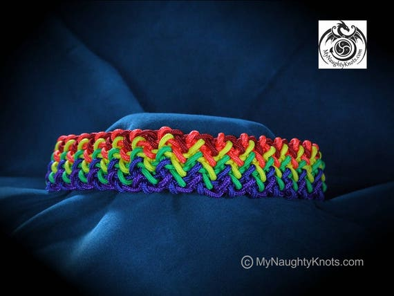 "16-1/2"" Knotted Rainbow Pride Collar"