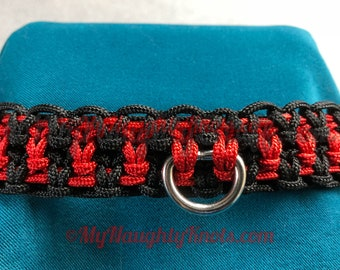 Red and Black knotted BDSM Collar