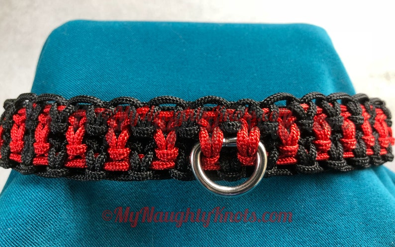 Red and Black knotted BDSM Collar image 0