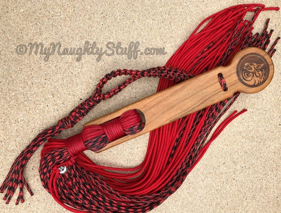 The Wolf, BDSM Flogger for Adult play, Master, Mistress Gift, Red and Black, Stinger, Free Personalization
