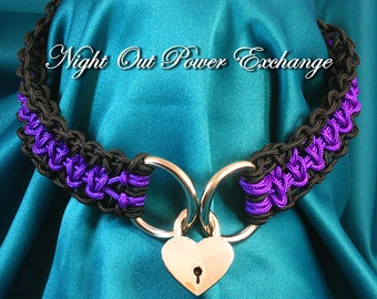 Night Out Power Exchange Collar, elegant hand knotted dress BDSM collar with heart shaped lock