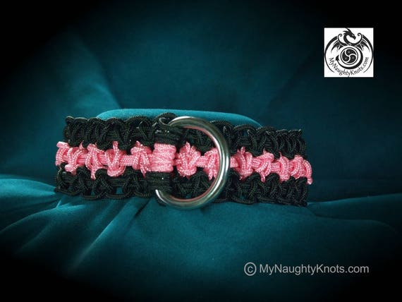 "13-1/2"" Pink and Black BDSM Princess, Kitten, Slave Collar"