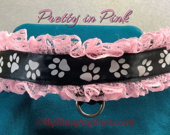 Kitty Collar Pink and Black Adjustable Lockable Adult Play