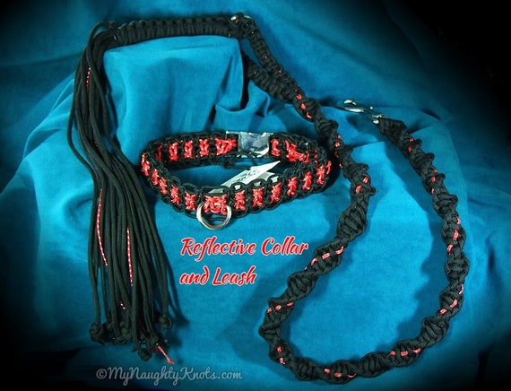 Reflective BDSM Leash Flogger and Collar Gift Set