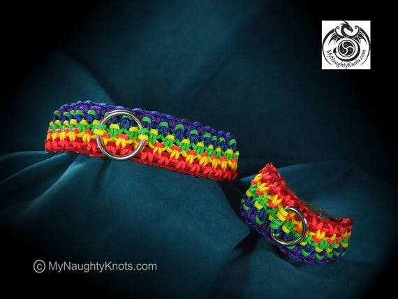 "Rainbow Pride 15"" Collar and 8"" Cuff Set"