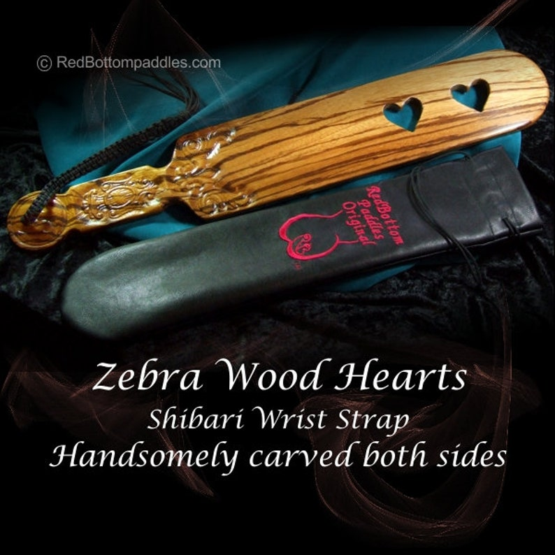Exotic wood Line carved Zebra Wood and cut through hearts. image 0