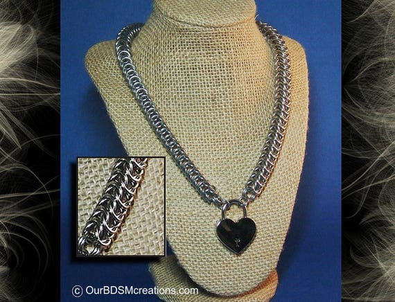 Heavy Stainless Steel Chainmail Collar Necklace with Lockable Heart Lock