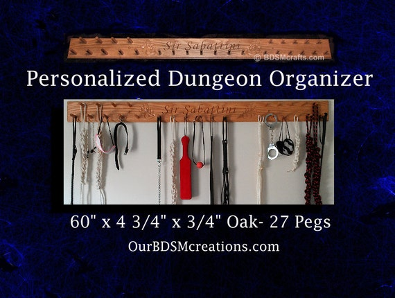 Personalized BDSM toy organizer for all your BDSM Spanking Paddles and gear. Great Gift for Mistress or Master