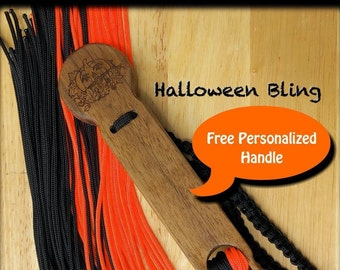Halloween Bling Personalized Custom Stinger Flogger with orange and black fall