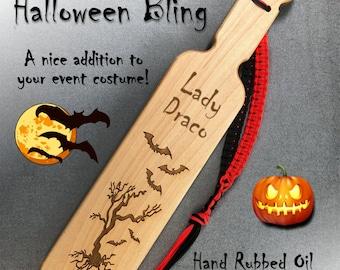 Halloween OTK Spanking Paddle,  13 inch  Hard Maple. Free personalized engraving.