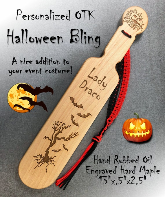 Halloween OTK Spanking Paddle,  13 inch Natural Oil Finished Hard Maple. Free personalized engraving.