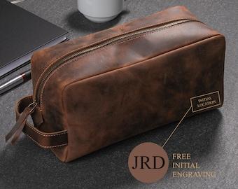 Toiletry Bag, Personalized Leather Dopp Kit, Engraving Men's Travel Bag, Men's Shaving Bag,Christmas Gift, Gift for Groomsmen, Birthday Gift