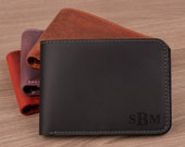 Men 39 s Leather Wallet, Personalized, Monogrammed, Engraved Slim Card Holder, Best Gift for Groomsmen, Fathers Day, Husband, Son, Birthday