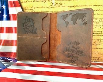 Star Flag Panama Leather Passport Holder Cover Case Travel One Pocket