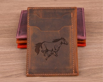 Personalized Leather Wallet, Front Pocket, Engraved, Slim Credit Card Holder, Best Gift for Husband, Birthday, Groomsmen, Gift For Him