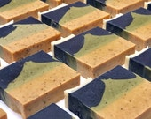 AMONG GUM TREES. Handmade, Vegan, Cold Processed Soap. Ground Wattle Seed, Eucalyptus, Peppermint and Tea Tree Essential Oils with Turmeric.