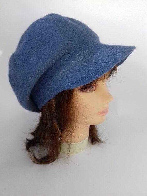 3b15c080805 French Beret Cap Felt Slouchy Hat Denim Wool beret cap Winter