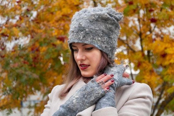 1e1bdf5a2ad Grey merino wool hat with curls of sheep Felt hat felted